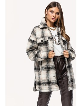 Make The Day   Black by Loavies Black Checkered Coat