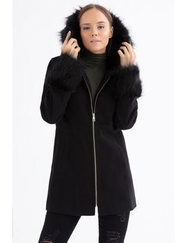Black Fur Hood Zip Through Duffle Coat by Select
