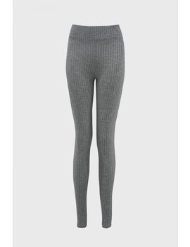 Grey Marl Ribbed Leggings by Select