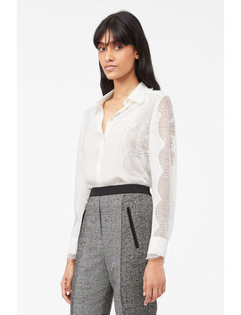 Tailored Silk Double Georgette &Amp; Lace Top by Rebecca Taylor