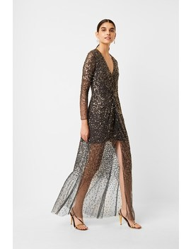 Emille Sequin Plunge Maxi Dress by French Connection
