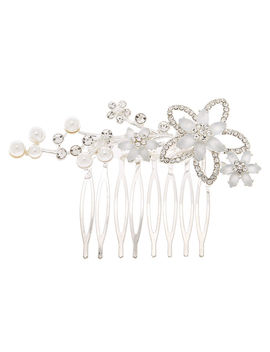 Silver Frosted Flower Hair Comb by Claire's