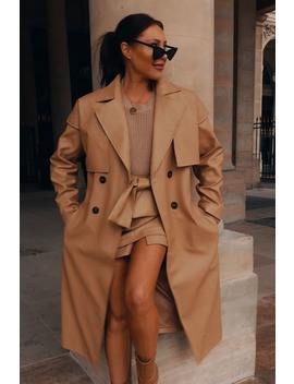 Lorna Luxe Camel 'lady' Leather Look Trench Coat by In The Style