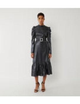 Metallic Ruffle Hem Midi Dress by Warehouse