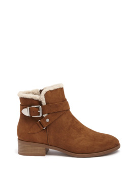 Faux Shearling Trim Booties by Forever 21