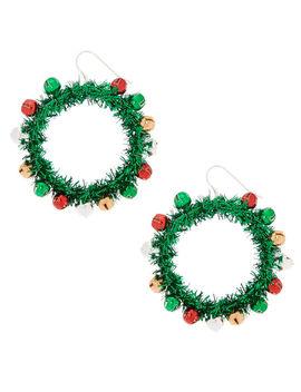 "2"" Wreath Drop Earrings   Green by Claire's"