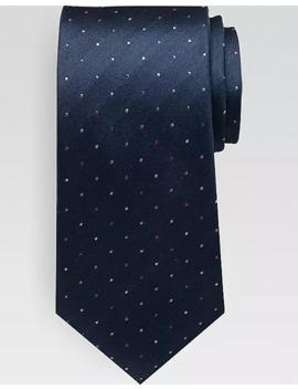 Calvin Klein Pink On Navy Dot Narrow Tie by Calvin Klein
