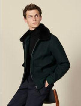Chevron Wool Aviator Jacket by Sandro Eshop