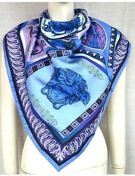Versace Luxus Tuch Scarf Carré платок 100% Seide Silk 67x67 Uvp 249 € Blau New by Ebay Seller