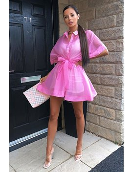 Pink Organza Shirt Slip Insert Dress   Nickie by Rebellious Fashion