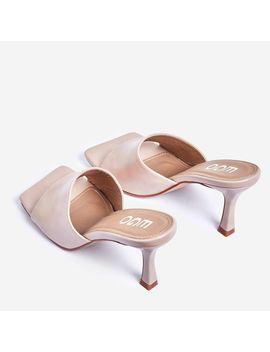 Hilton Square Peep Toe Kitten Heel Mule In Nude Faux Leather by Ego