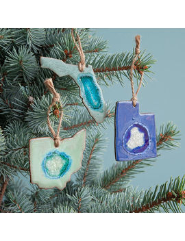 Geode State Ornaments by Uncommon Goods