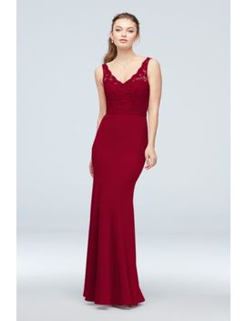 Lace And Stretch Crepe V Neck Bridesmaid Dress by David's Bridal