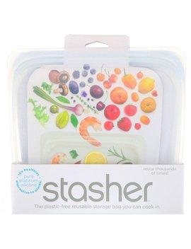 Stasher, Reusable Silicone Food Bag, Sandwich Size Medium, Clear, 15 Fl Oz (450 Ml) by Stasher