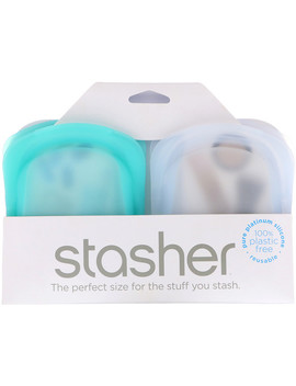 Stasher, Reusable Silicone Pocket, Clear & Aqua, 2 Pack, 4 Oz (42 G) Each by Stasher