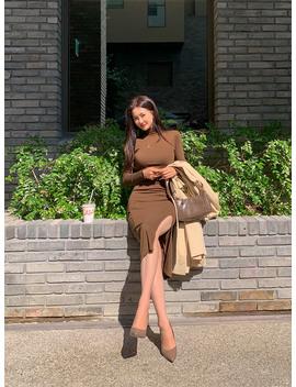 Femme Fatal Turtleneck Belted Dress by Chuu