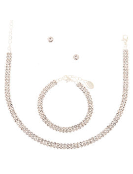 Silver Rhinestone Choker Jewelry Set   3 Pack by Claire's