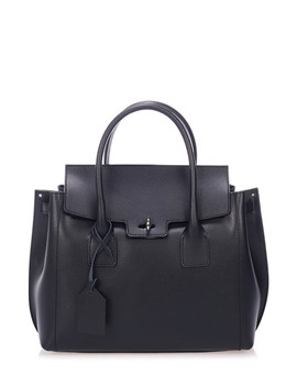 Black Saffiano Leather Foldover Grab Bag by Giorgio Costa