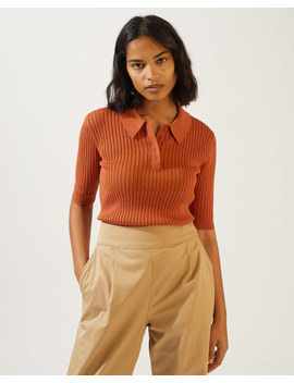 Rib Polo Neck Top by Jigsaw