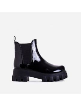 Easton Chunky Sole Ankle Chelsea Boot In Black Patent by Ego