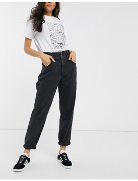 pull&bear-double-button-elasticated-waist-mom-jean-in-black by pull&bear