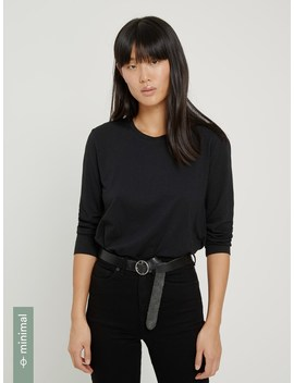 Bracelet Sleeved Crewneck In Black by Frank & Oak