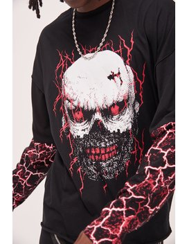 Skull Print Anarchy Long Sleeve T Shirt by Jaded London