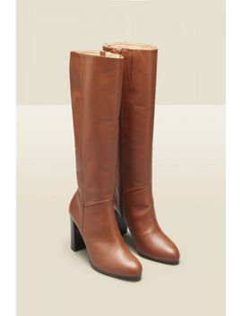Blake Tan Leather Knee High Boot by Sosandar