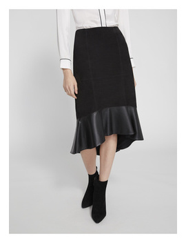 Kina Ruffle Hem Suede Skirt by Alice And Olivia