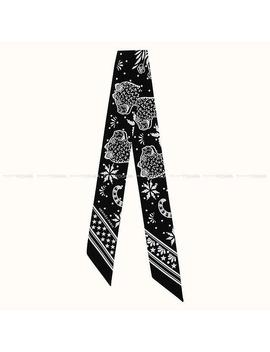"Hermes エルメスツイリースカーフ ""Les Leopards Bandana バンダナレオパード ""Black (Black) / White (White) Silk 100% New Article (Twilly Scarf ""Les Leopards Bandana"")# よちか In The Summer Latest The Spring Of 2019 by Rakuten Global Market"
