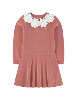 Sweatshirt Dress With Embroidered Flowers by Lili Gaufrette