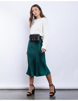 Jewel Silky Midi Skirt by 2020 Ave