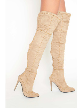 Jada Studded Thigh High Boots In Mocha Faux Suede by Luxe To Kill