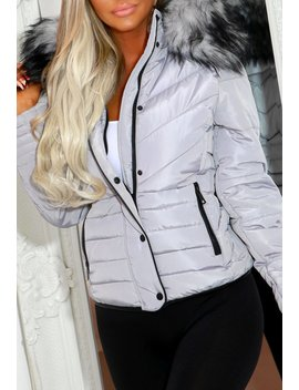 Jaymie Grey Padded Coat With Black Button And Binding Detail by Pink Boutique