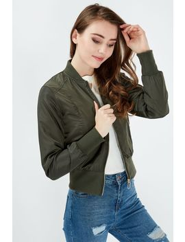 Khaki Padded Bomber Jacket by Select
