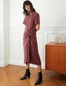Plum Ruched Tencel Dress by Pixie Market