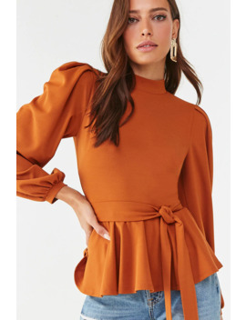 Self Tie Mock Neck Top by Forever 21
