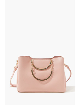 Faux Leather Chain Accent Satchel by Forever 21