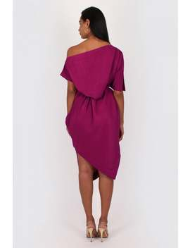 Bullet Ava Off The Shoulder Midi Dress In Wine by Little Mistress