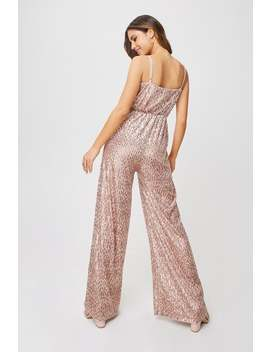 Little Mistress Shelley Mink Velvet Sequin Jumpsuit by Little Mistress