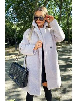 Cari's Closet Charlotte Teddy Coat In Grey by Little Mistress