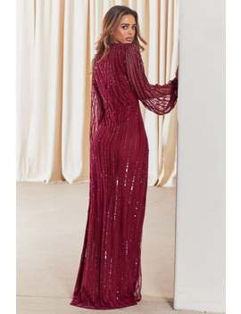 Sistaglam  Daisianne Berry Embellished Long Sleeve Wrap Maxi Dress by Little Mistress