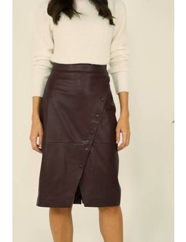 Burgundy Leather Button Front Wrap Skirt by Sosandar