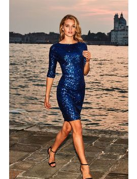 Sapphire Blue Sequin Shift Dress by Sosandar