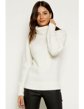 Ivory Fluffy Roll Neck Jumper by Sosandar