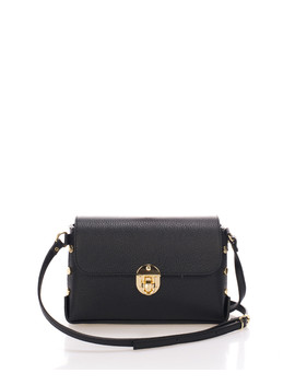 Black Leather Crossbody Bag by Zoe & Noe