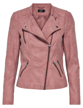 Only Ava Faux Leather Biker Jacket, Dusty Pink by Farmers