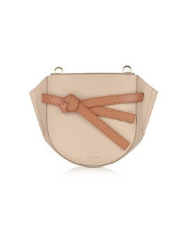 Peyote Smooth Leather Shoulder Bag W/Bow by Le Parmentier