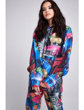 Retro 80's Collage Print Hoodie by Jaded London