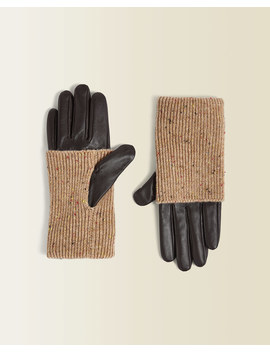 Knitted Leather Glove by Jigsaw